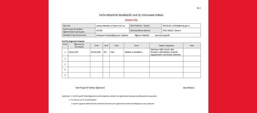 Fatih Projesi BT Rehberliği Sınıf İçi Uygulama Formu