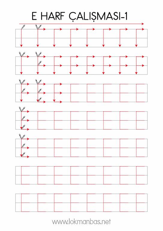 2382x3368 Boyutlarında Büyük E Harfi Çalışma Kağıdı -1 İndir